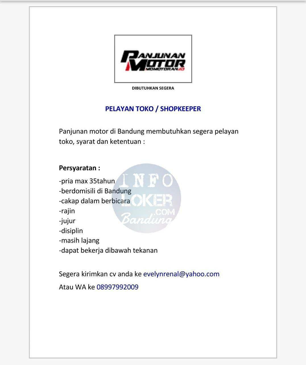 Lowongan Kerja Panjunan Motor Bandung Januari 2018