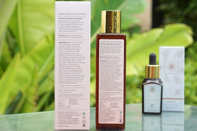 Forest Essentials Tejal Balancing Water Ingredients