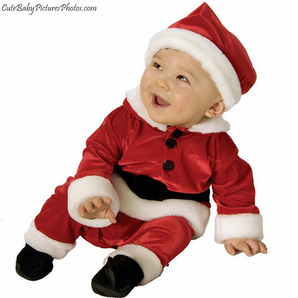 This baby Santa suit comes complete with a belt printed around the waist, a textured beard accent just below the collar and a hood that's shaped just like Santa's hat with a white fluffy pom on the end.