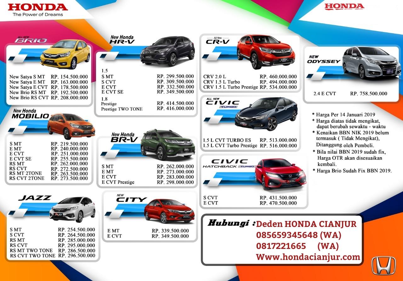 Dealer Honda Cianjur Daftar Harga Otr Cash Dan Kredit Mobil Baru