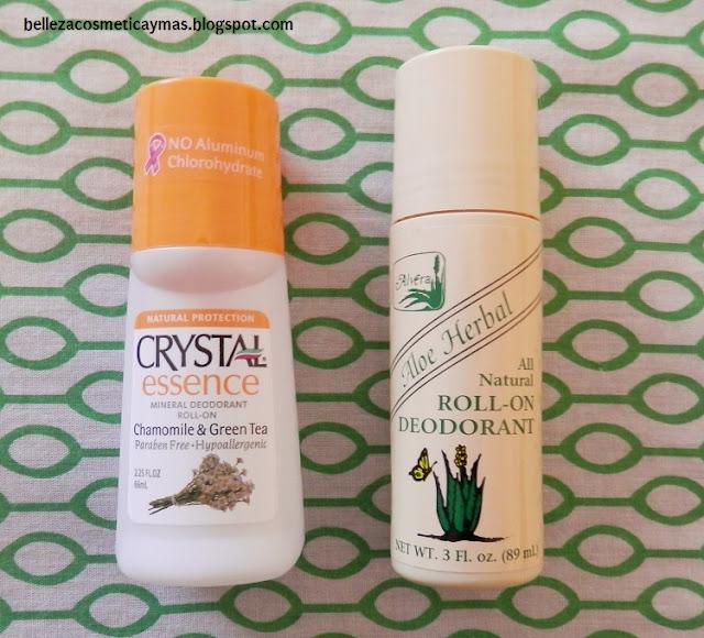 Desodorantes: Crystal Essence de Camomila y Té verde; Desodorante Aloe Herbal de Alvera