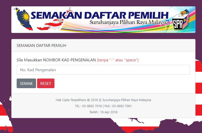 Keris 7 Lok Link Untuk Semakan Daftar Pemilih Pru14 Jombn
