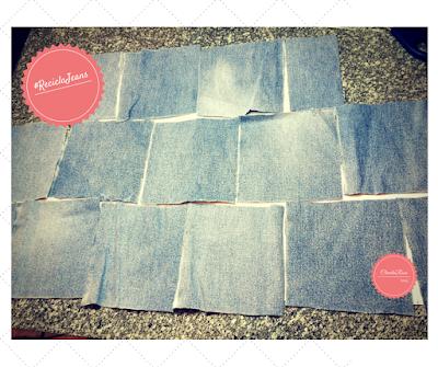Transforme Calça Jeans em Cropped - Esquema de Posicionamento dos Quadrados