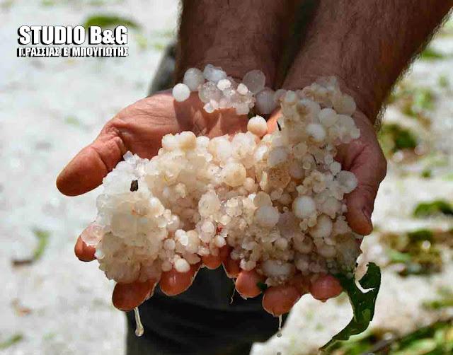 Ισχυρή χαλαζόπτωση και διακοπή ηλεκτροδότησης στο Γαλατά Τροιζηνίας
