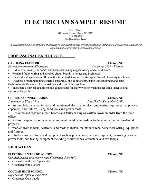 sample electrician cv electrical apprentice cv sample curriculum - Sample Journeyman Electrician Cover Letter