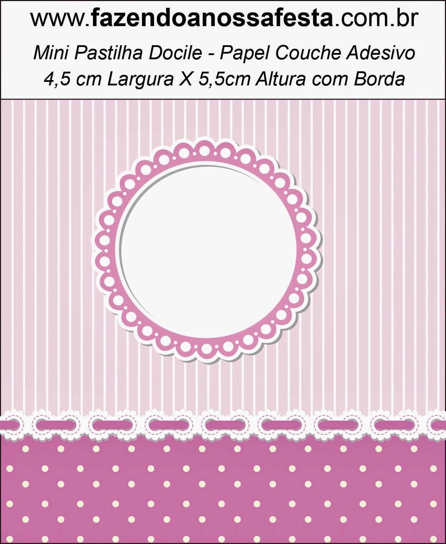 Etiquetas para Imprimir Gratis de Rayas y Lunares en Lila y Blanco.