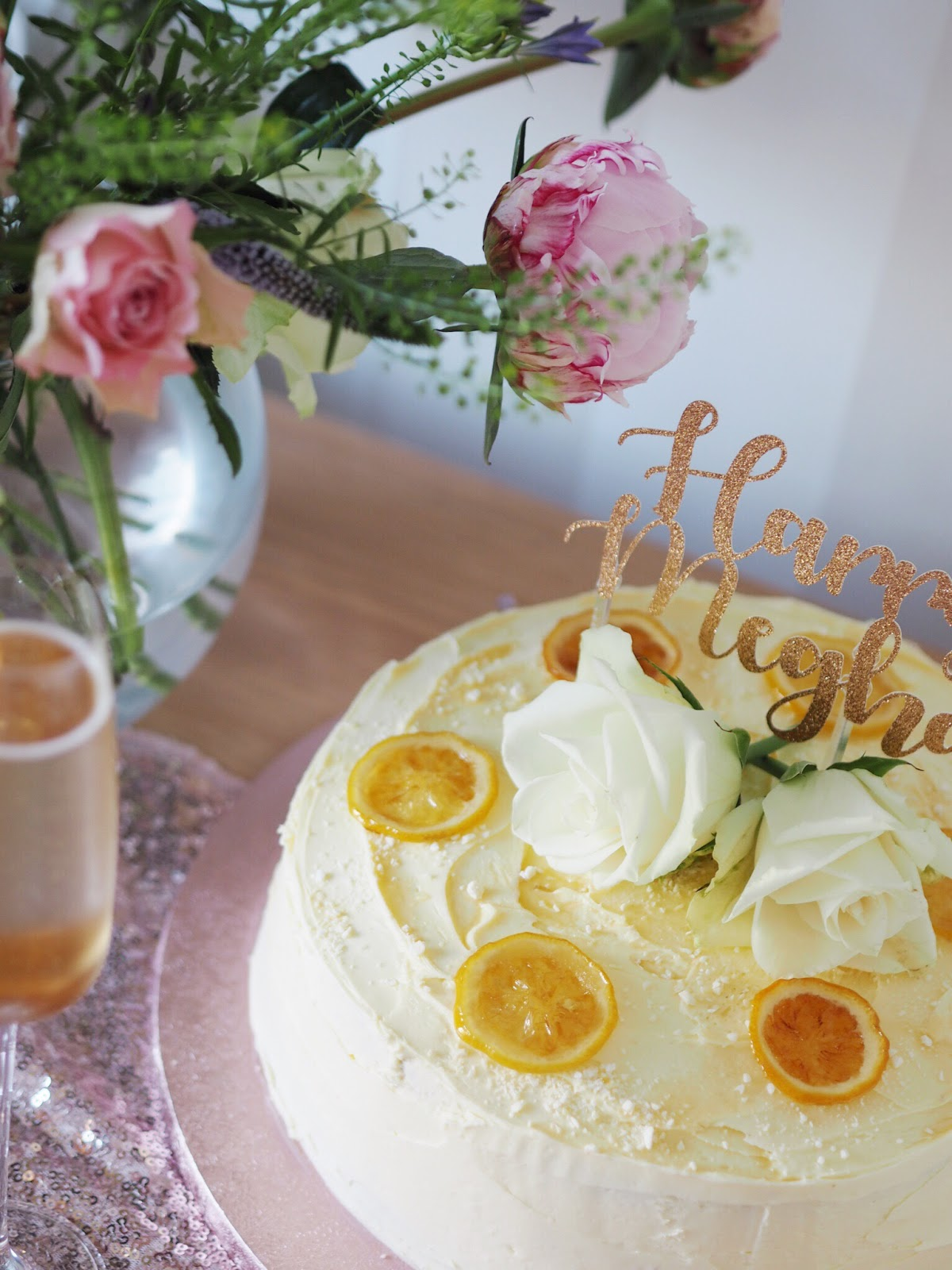 Lemon & Elderflower royal wedding cake recipe with prosecco and peonies