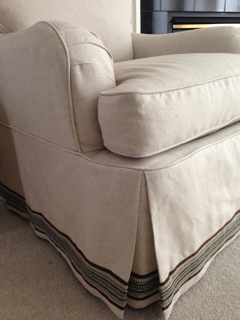 Luxury Linen On A Pair Of Rolled Arm Club Chairs With Double Applied Trim  Accent Band On The Skirts.