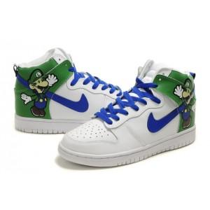 Nike SB Dunk Cartoon Shoes   Super Mario Nike Dunk Luigi Bros High ... d03f5f32b11a