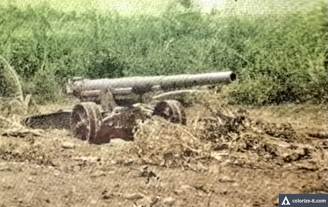 Abandoned Japanese artillery at Barrio Aga, Nasugbu.  Image source:  The Angels, a History of the 11th Airborne Division.  Colorized courtesy of Algorithmia.