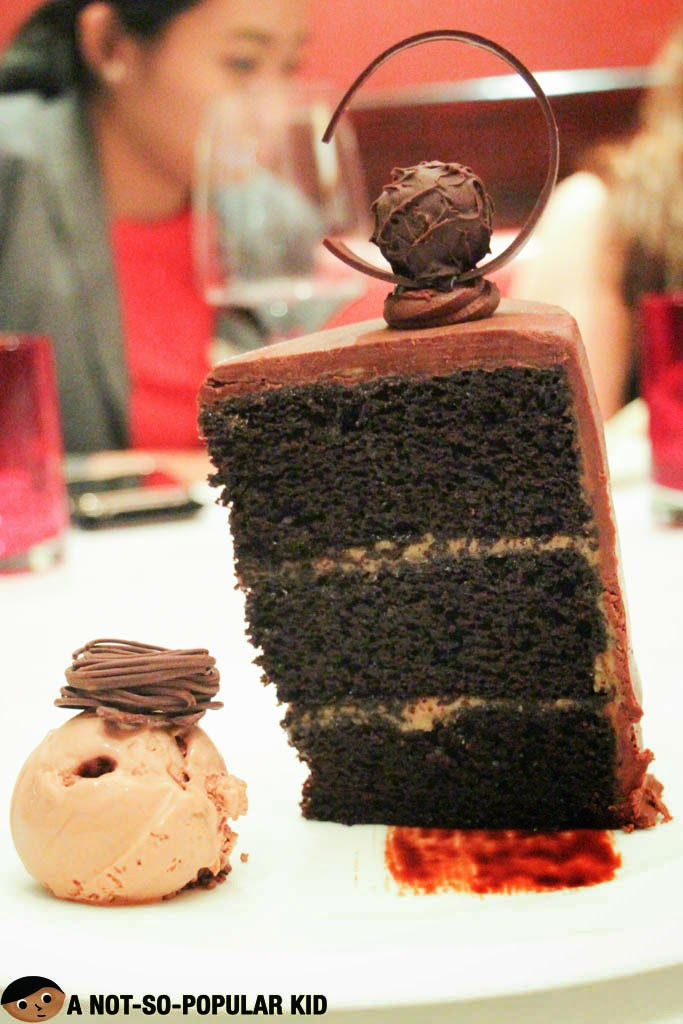 Sweet and Salty Chocolate Moist Cake of Cru Steakhouse