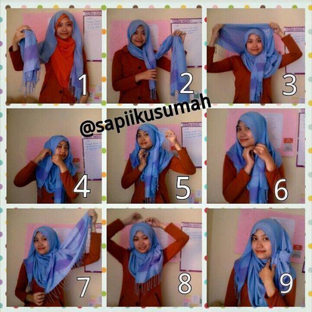 Tutorial cara memakai model hijab pashmina untuk wajah bulat 4