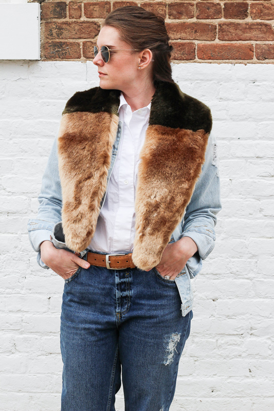 Faux fur and denim