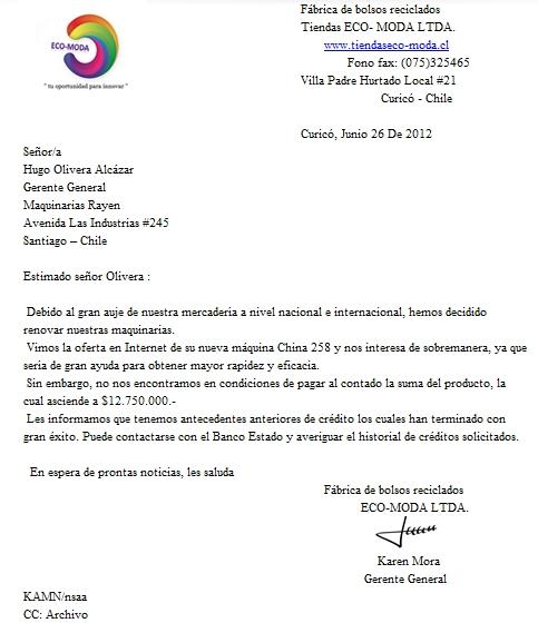 María José Orostica Carta de Solicitud de Crédito