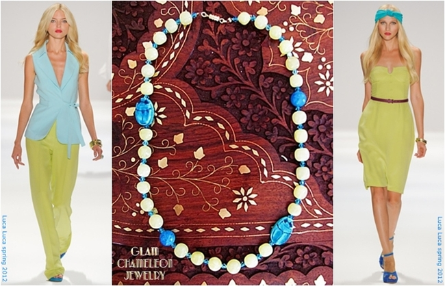 Glam Chameleon Jewelry blue scarab turquoise yellow jade necklace