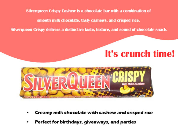 Contoh Iklan Coklat SilverQueen Crispy Cashew dalam Bahasa Inggris
