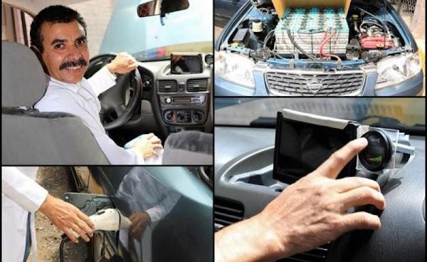 Profesor mexicano convirtió su auto de gasolina a eléctrico, recorre 25 km por 4 pesos.