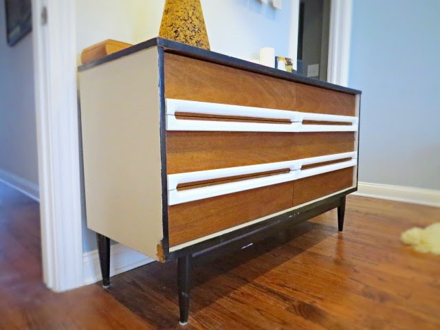 mid-century dresser stripped paint white black wood