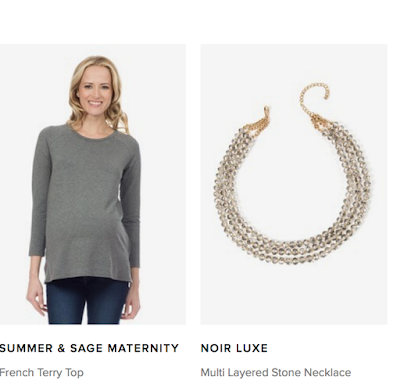 basic maternity shirt, summer and sage maternity, noir Luxe necklace, le tote,