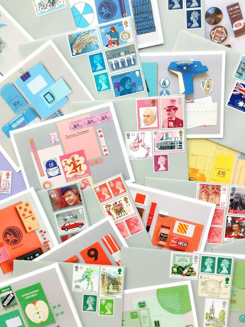colourful notecards and coordinating postage stamps
