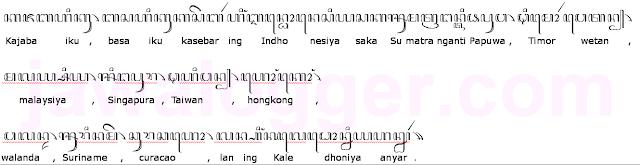 contoh paragraf aksara Jawa dan artinya dalam bahasa Indonesia