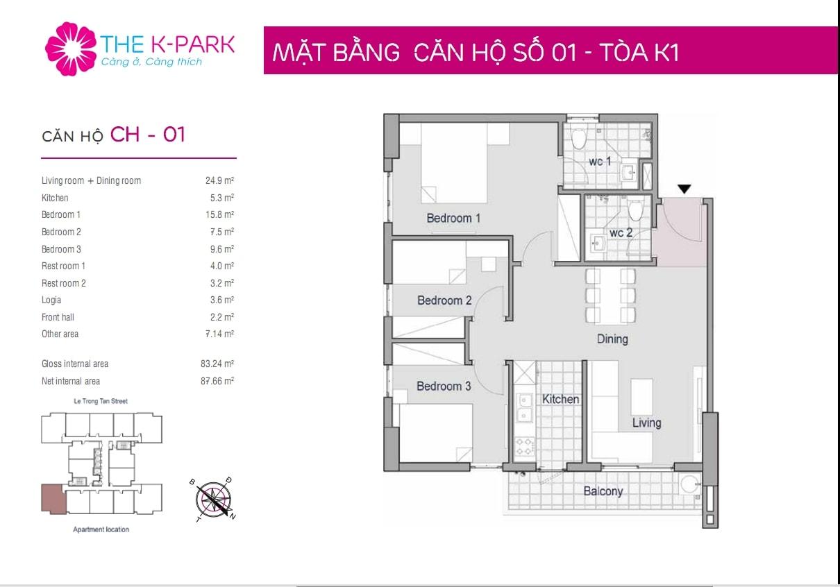 Căn hộ The K Park 83,24 m2 thông thủy