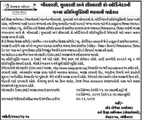 Sarva Siksha Abhiyan (SSA) Gujarat Recruitment 2016 for Coordinator Posts