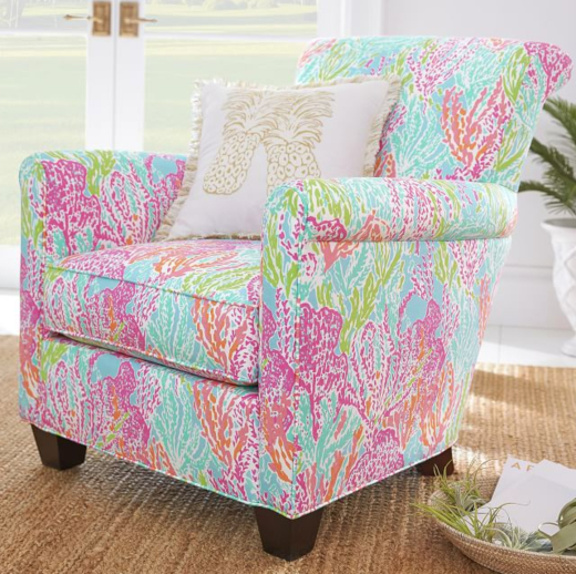 Lilly Pulitzer Fabric Upholstered Chair
