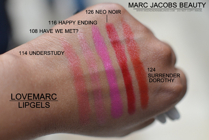Marc Jacobs Beauty LoveMarc Lip Gel Lipsticks Indian Darker Skin Makeup Blog Photos Swatches 114 understudy 108 have we met 116 happy ending 126 neo noir 124 surrender dorothy