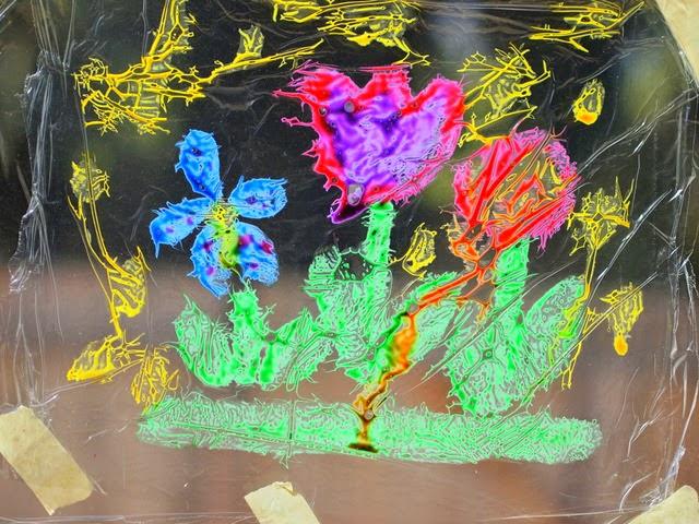 dripping glue suncatcher art