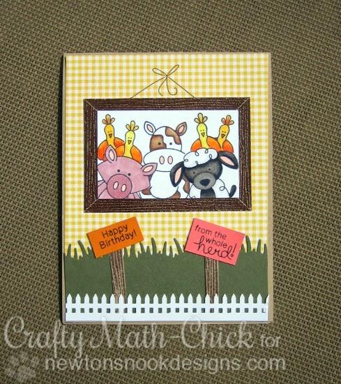 Farm Animal Frame Card by Crafty Math-Chick | Farmyard Friends Stamp Set by Newton's Nook Designs