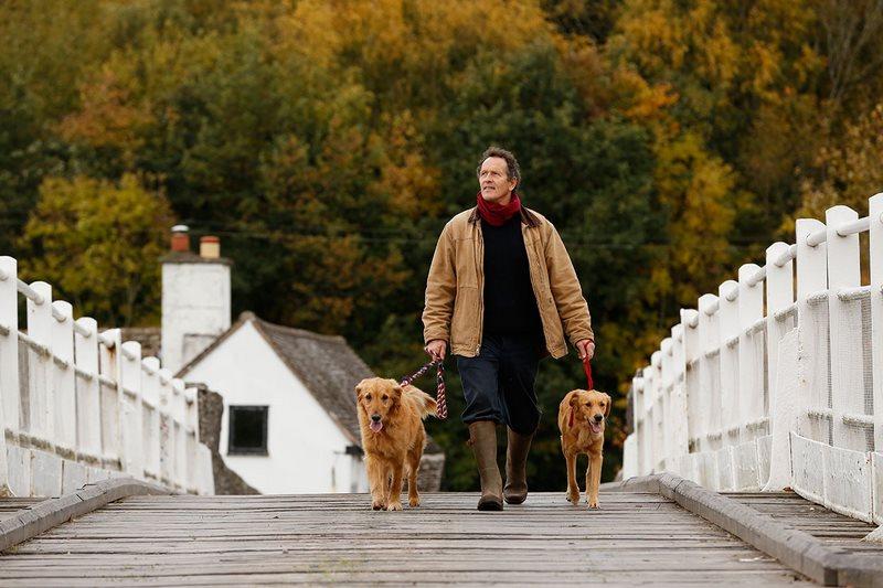 Presentador de Gardeners World, Monty Don, paseando con sus perros