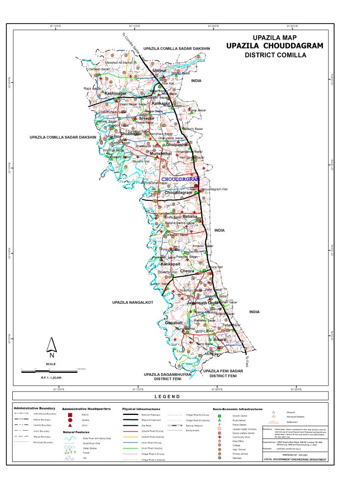 Chauddagram Upazila Map Comilla District Bangladesh