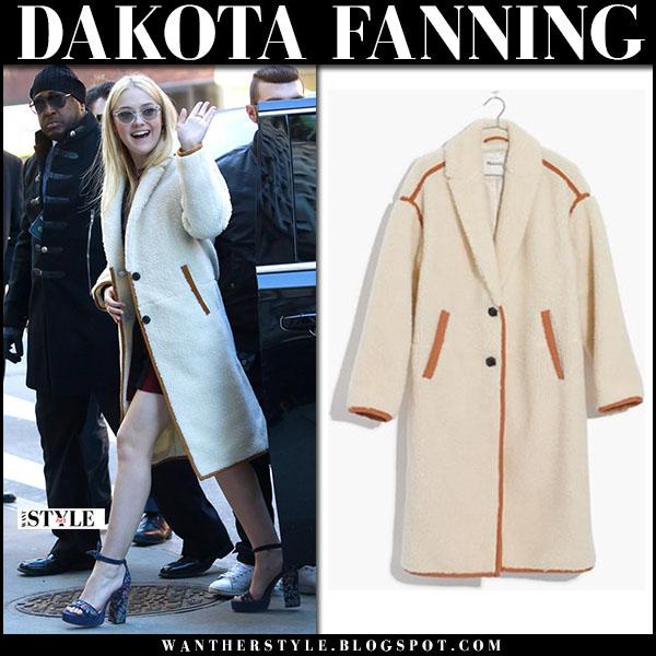 Dakota Fanning in cream teddy coat madewell winter fashion style january 18