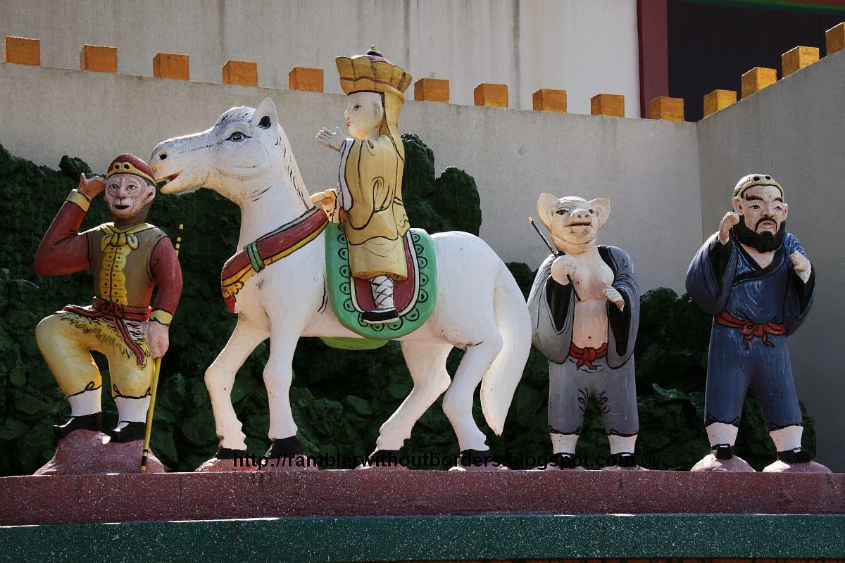 Diorama from a scene from a Chinese classic Journey to the West: Monkey, Tripitaka, Pigsy and Sandy