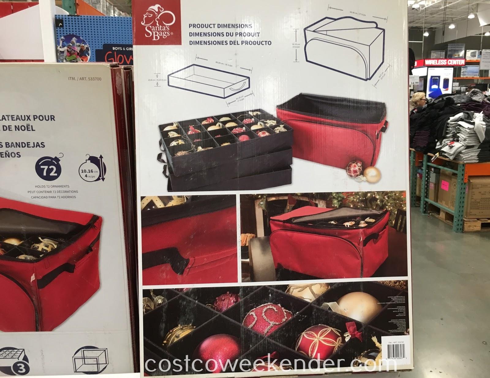Santa S Bags Three Tray Ornament Keeper Costco Weekender