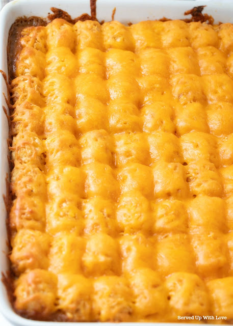 Taco Tater Tot Casserole recipe from Served Up With Love