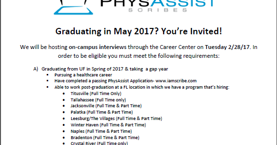 UF Pre-Health Buzz: PhysAssist Scribes: On-Campus Interviews