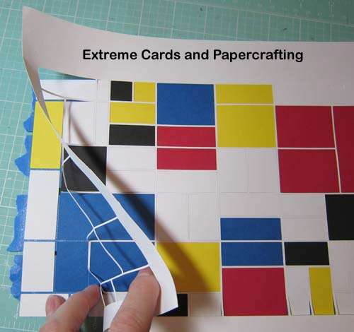 removing waste card stock from Mondrian card cut