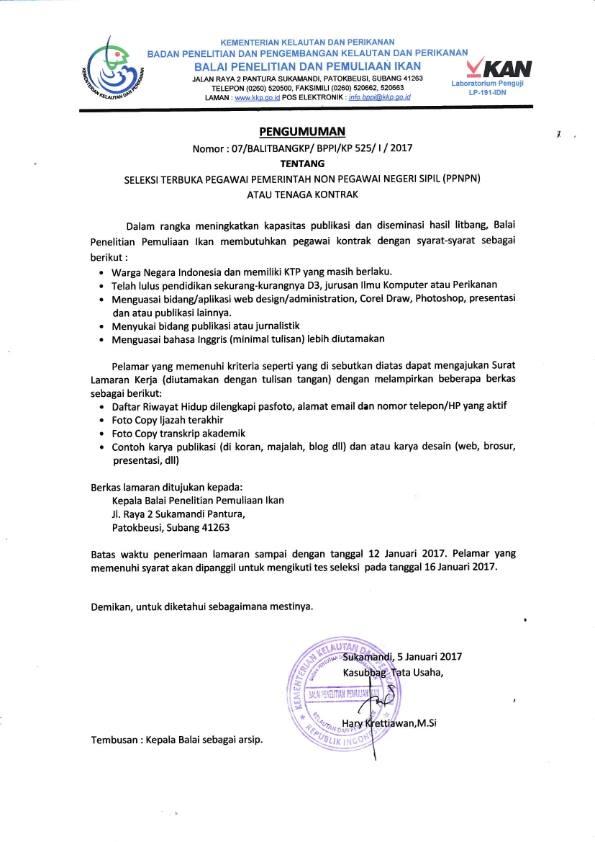 Penerimaan PPNPN Kementerian Kelautan dan Perikanan