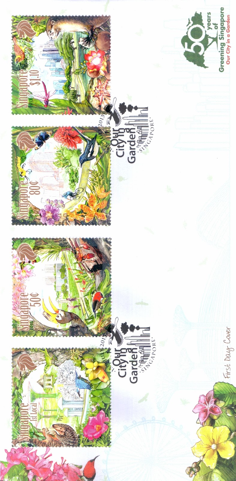 Pre-cancelled First-Day Cover affixed with stamps S$3.45*
