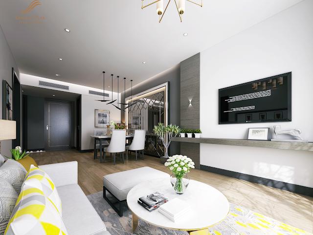 Phòng khách căn hộ mẫu dự án Golden Peak