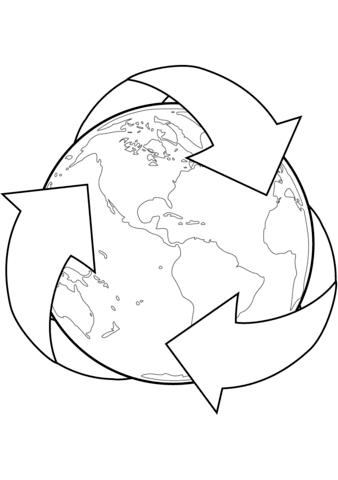 equipe ecológica bioma símbolo da reciclagem para colorir
