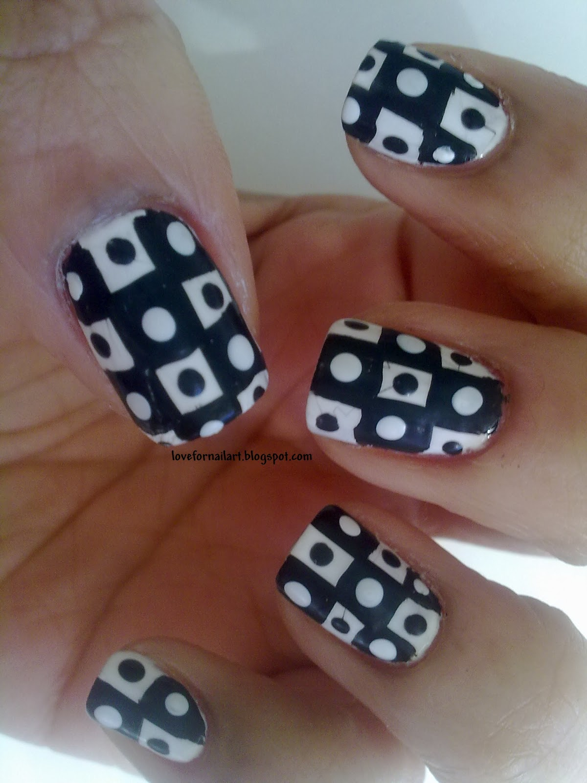 Love For Nail Art Checkered Nails With Dots