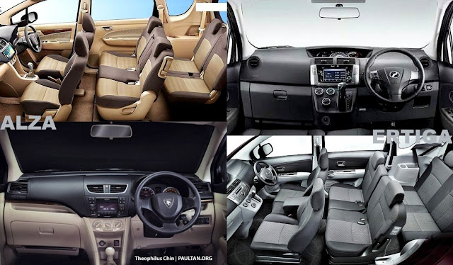 MPV Kompak Proton Ertiga VS Perodua Alza - interior