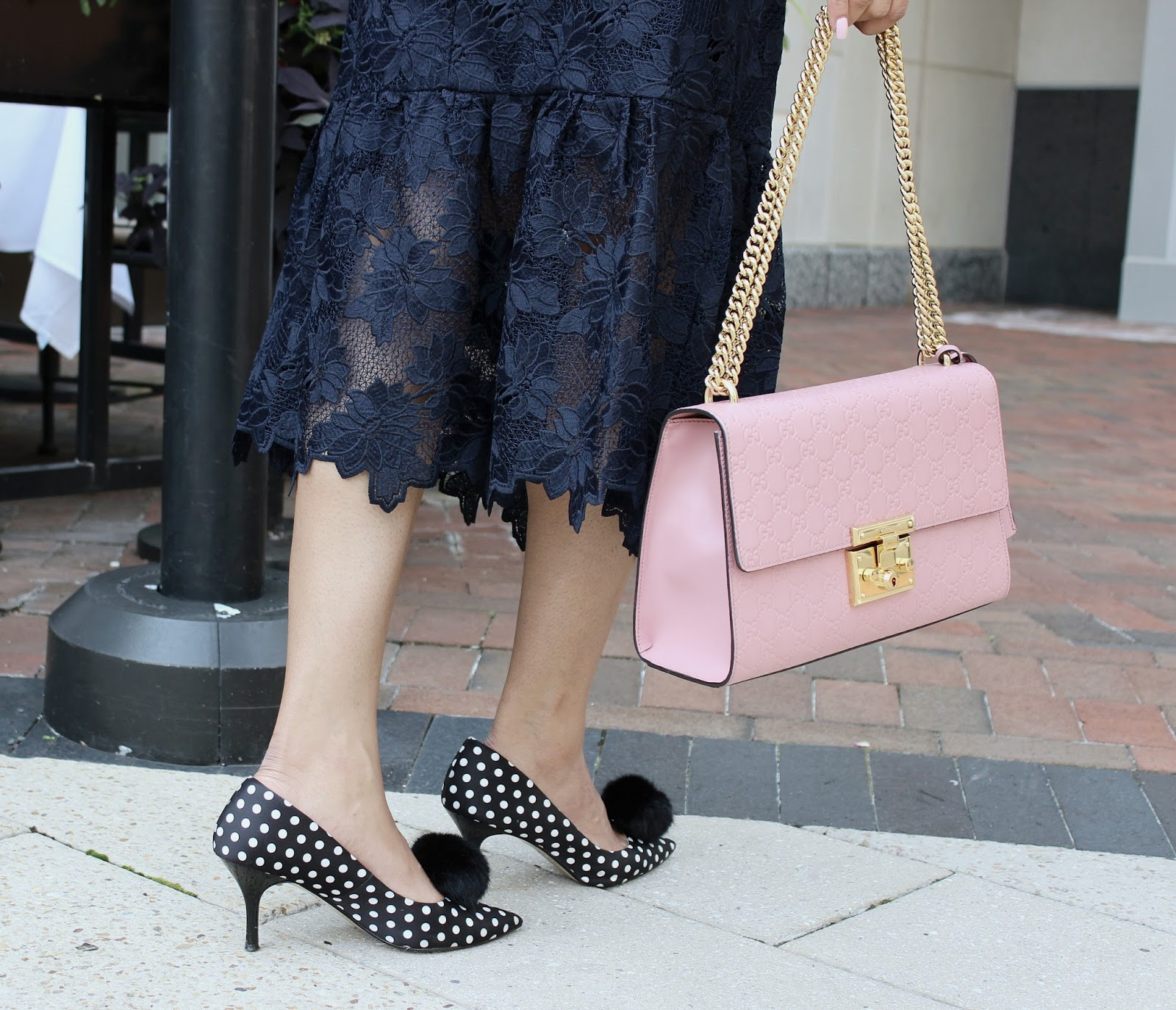 feel like a million bucks, banana republic lace dress, pom pom heels, polka dot heels, DIY, gucci bag, gap turtleneck, daniel wellington Bondi watch, street styl, fall style, myriad musings