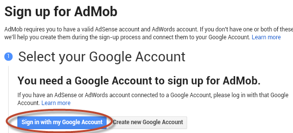 Sign In Admob