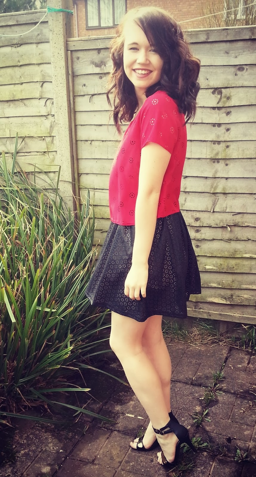primark red top and skirt