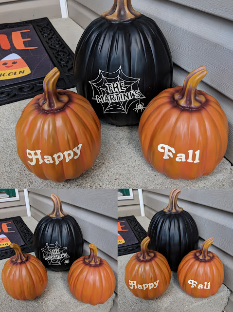 fall decor, personalized decor, outdoor decor, personalized pumpkin, happy fall, Halloween decor