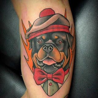 Cool Rottweiler with a hat Tattoo
